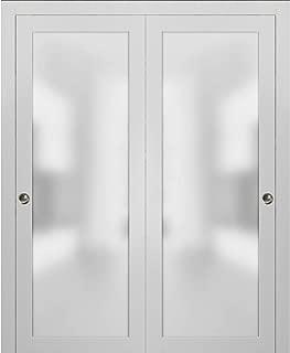 Closet Bypass Sliding Glass Doors 60 x 80 | Planum 2102 White Silk | Rails Trims Pulls Hardware Set | Modern Solid Core Wood Interior Doors Frosted Glass