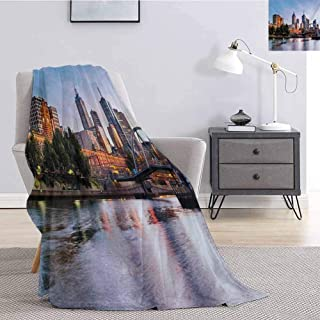 Tr.G City Bedding Microfiber Blanket Early Morning Scenery in Melbourne Australia Famous Yarra River Scenic Super Soft and Comfortable Luxury Bed Blanket W60 x L70 Inch Orange Green Pale Blue
