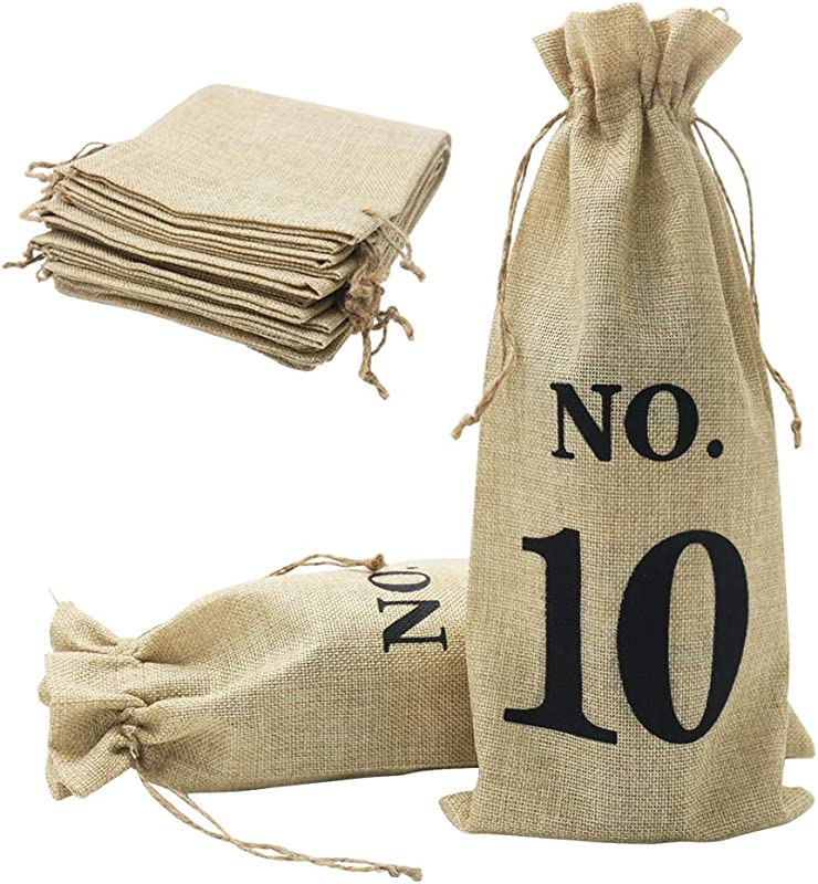 Shintop 10pcs Jute Wine Bags 14 X 6 1 4 Inches Hessian Wine Bottle Gift Bags With Drawstring For Blind Wine Tasting Numbered Brown