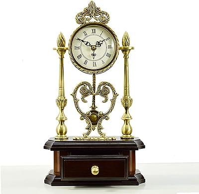GYFY Reloj de Escritorio Europeo de Madera Maciza Retro Tallado ...