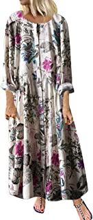 Kangma Women Plus Size Leaves Floral Print Pleated Vintage Long Sleeve Maxi Dress (Large(US 14) /Tag 2XL,Pink)