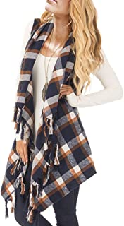 Womens Sleeveless Plaid Asymmetrical Hem Tassel Drape Open Front Cardigan Vest