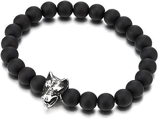 MATT Black Onyx Bracciale Braccialetto unisex per uomini e donne Bracciale Testa di Leone
