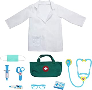 9Pcs Kids Doctor Costume Dress up Role Play Set with Doctor Lab Coat,Mask and Accessories for Toddlers Ages 3-6 White