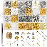 Inntek 2416pcs Kit de Hacer Bisutería, Kit de Accesorios de Joyería Herramientas de Reparación de Joyas Adecuado para Hacer y Reparar Collares y Pulseras y Pendientes Accesorios Color Plata