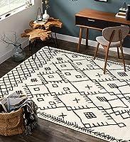 Uphome ボーホー 幾何学模様 エリアラグ 4フィート x 6フィート ベルベット アンティーク調 アクセント 部族風 スローラグ モダン モロッコ風 トレリス フロアカーペット リビングルーム ベッドルーム 洗濯 子供部屋装飾 ブラックとベージュ