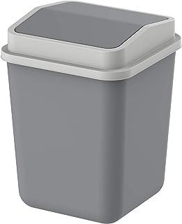 Cosmoplast Plastic Swivel Trash Bin, Pearl Grey, 15 Liters, IFHHLA326PG