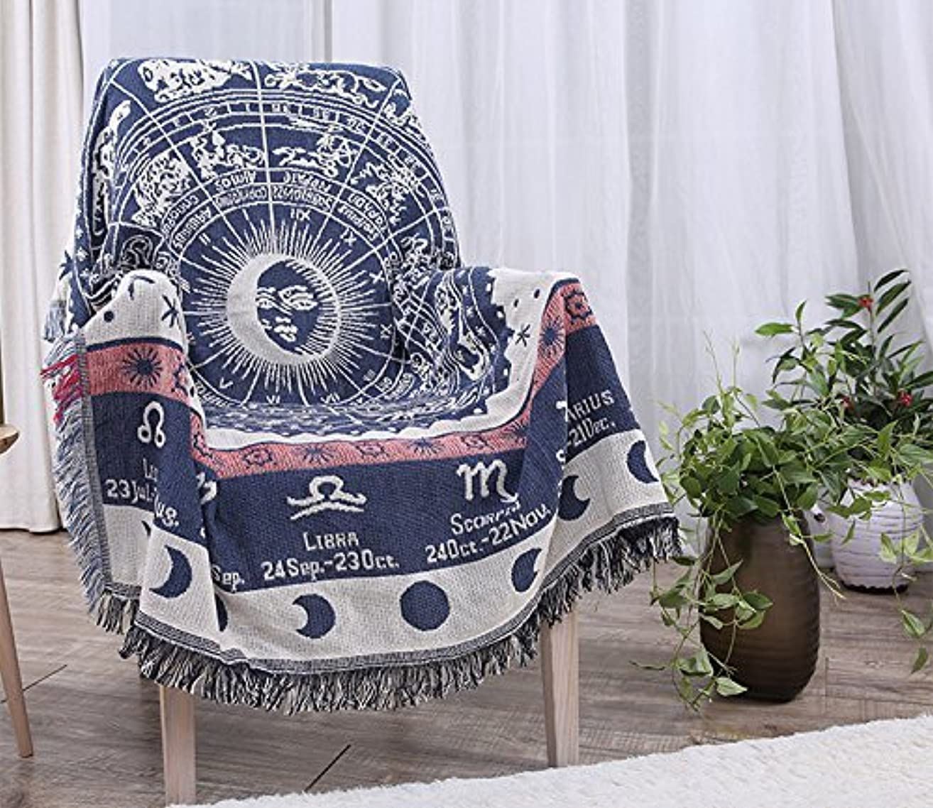 貧困ブラインドレーザwellhouse ソファカバー ラグマット マルチカバー 北欧 星座柄 両面使用 綿製 (90*150, ゾディアック星座)