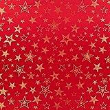 Fabulous Fabrics Weihnachtsstoff goldene Sterne – rot —