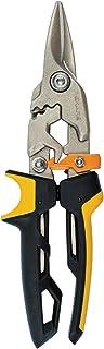 Fiskars PowerGear Aviation Snip Straight Cut, 40% More Power, Length 25cm, Steel Blade/Plastic Handle, Black/Orange, 1027207