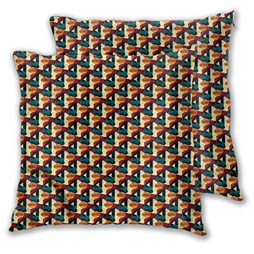 Youdeem-home Abstract Square Throw Pillow Covers Polygonal Vivid Mesh for Couch Decorative 26' x 26' Set of 2 (Insert Not Included)
