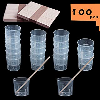 SBYURE 100 Pack 30ml Plastic Graduated Cups Clear Measuring Cups with 100 Pack Wooden Stirring Sticks for Mixing Paint, Stain, Epoxy, Resin