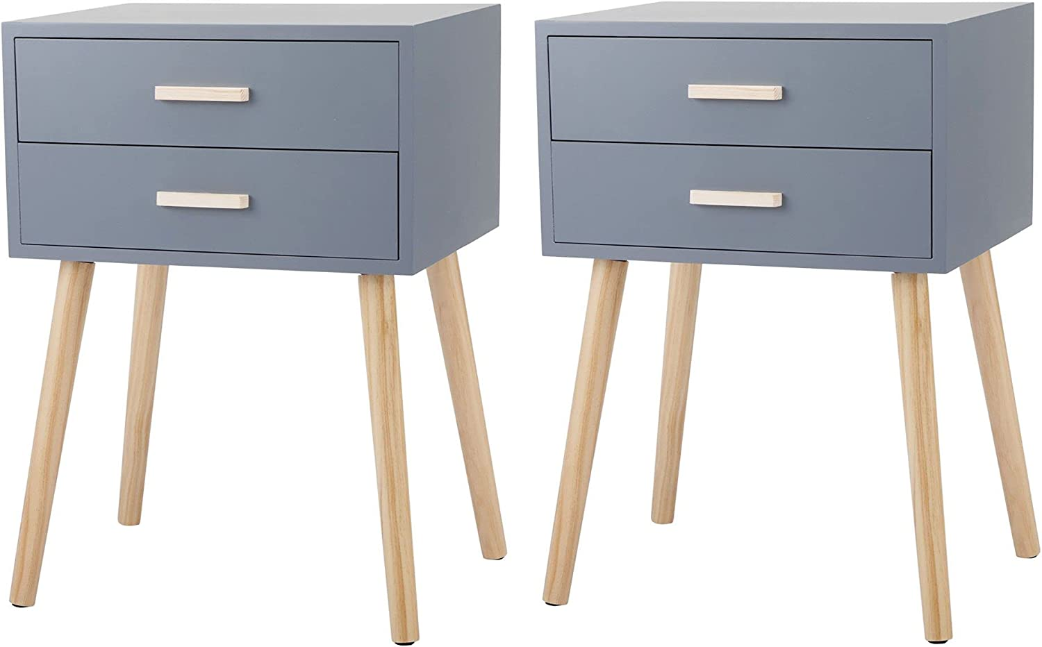 End Table Popular popular Set of 2 with Nights Solid Max 57% OFF Mid Century Drawers Wood