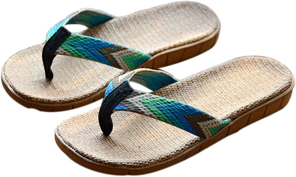 Mens Breathable Linen Flip Flops Sandals Non-Slip Woven Slippers for Indoor Outdoor Beach