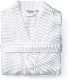 Unisex Waffle Organic Robe, Alpine White, Small/Medium