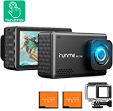 Runme R3 4K Action Camera Touch Screen 16MP Adjustable Wide Angle Waterproof Camcorder, Sports Camera with Accessories Kit & 2 Batteries (Black)