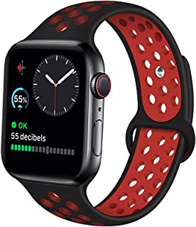 Kaome Compatible with Apple Watch Band 44mm 42mm 40mm 38mm, Soft Silicone iWatch Bands Replacement Sport Bands Compatible with iWatch Series 5/4/3/2/1, Nike+, S/M M/L