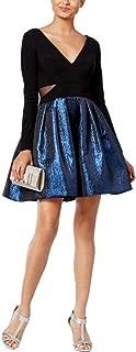 Xscape Womens Petites Metallic Double-V Party Dress