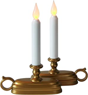 Brass Window Candles with White Flameless Tapers and Auto-Timer | Warm White LEDs, Batteries Included - Set of 2