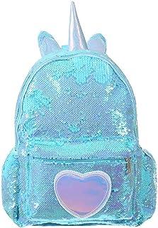 XHHWZB Children's Backpack- Fashion Sparkle Flip Reversible Sequin Schoolbag Glitter College Bookbag Large Capacity Travel Backpack for Women Girls