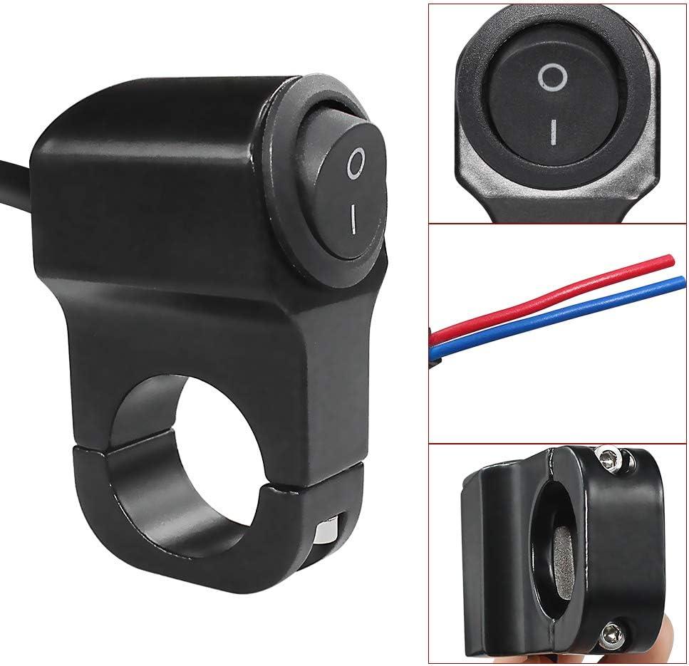 22mm for Spotlight Headlight Electrical System Diameter Handlebar Interrupteur Moto 12V Motorcycle Handlebar Control On-Off Switch CNC Craft Aluminum for Under 7//8 23mm