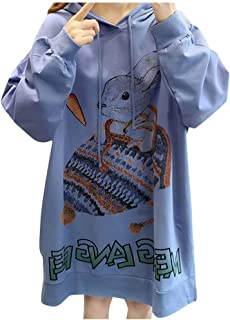 4Clovers Women's Casual Loose Fit Long Sleeves Rabbit Print Oversized Hooded Sweatshirts