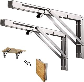 Vouwplankbeugels 10 inch, 2 stuks Heavy Duty RVS Opvouwbare Plankbeugel, DIY Planken voor Werkbank Wandmontage voor Wandpl...