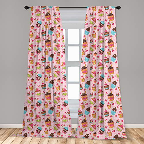 """Ambesonne Pink Curtains 2 Panel Set, Kitchen Cupcakes Muffins Strawberries and Cherries Food Eating Sweets Print, Lightweight Window Treatment Living Room Bedroom Decor, 56"""" x 84"""", Pale Pink and Brown"""
