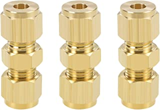 uxcell Brass Compression Tube Fitting 10mm OD Straight UNC 10-24 Thread Nozzle Hole Pipe Adapter for Garden Water Irrigation System 5pcs
