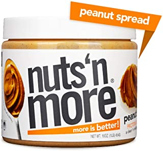 Nuts 'N More Peanut Butter Spread, Original Flavor, All Natural High Protein Nut Butter Healthy Snack, Omega 3's, Antioxidants, Low Carb, Low Sugar, Gluten-Free, Non-GMO, no preservatives,16 oz Jar