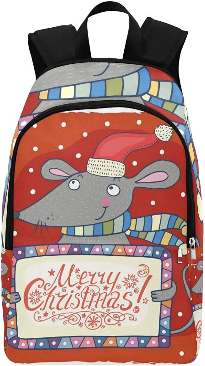 Christmas Greeting Card Cute Mouse Casual Daypack Travel Bag College School Backpack for Mens and Women