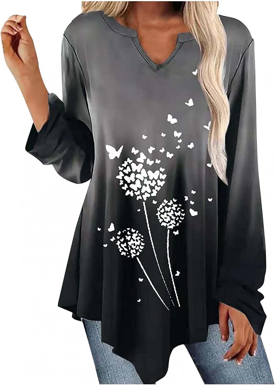 Shirts for Women Gradient Irregular Hem Top Dandelion Tie-Dye Print Tunics Casual Loose Long-Sleeve Blouse