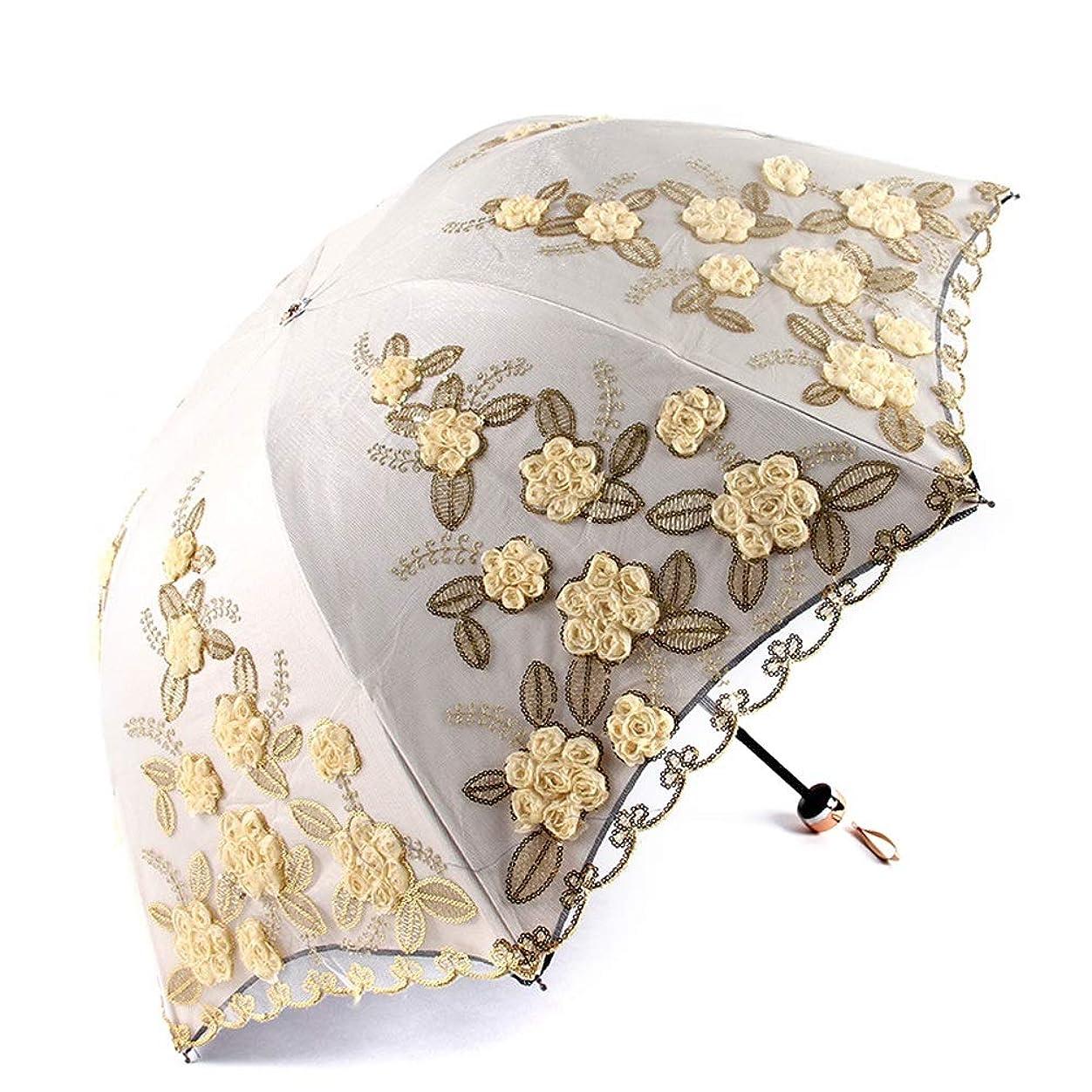 急襲妊娠した水を飲むJPYLY レディース 日傘 日焼け防止 折りたたみ傘 UVカット 遮光遮熱 夏 8本骨 ひんやり傘 傘 (Color : イエロー, Size : One Size)
