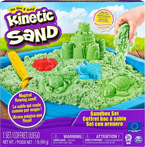Kinetic Sand Box Set mit grünem Kinetic Sand, 3 Förmchen und Schaufel
