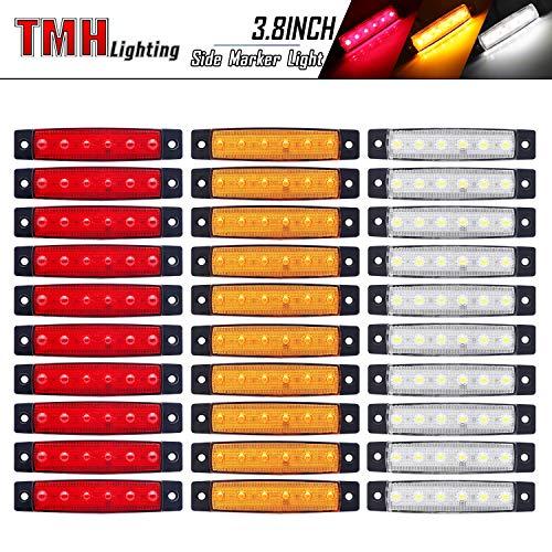 (Pack of 30) LEDVillage 3.8 Inch 10 Amber + 10 Red + 10 White Side Marker Lights 6 LED 2835 SMD Clearance Lamps for Truck Trailer RV Campervan Pickup Tractor SUV 12V DC Shockproof TK12