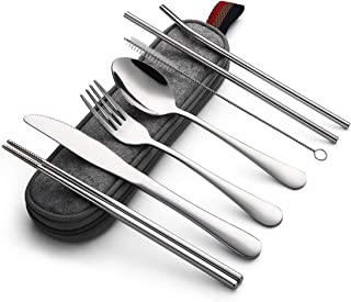 Devico Portable Utensils, Travel Camping Cutlery Set, 8-Piece including Knife Fork Spoon Chopsticks Cleaning Brush Straws Portable Case, Stainless Steel Flatware set (8-piece Silver)