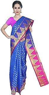 Banarasi Cotton Silk Silver Zari Pattu Saree - Antic Border with Blouse Piece for Women