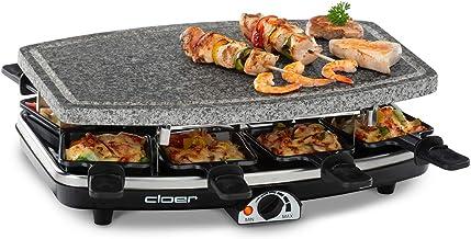 Cloer 6430 Raclettegrill met natuursteen, 1200 watt, 8 pannetjes met antiaanbaklaag met warmte-geïsoleerde handgrepen)