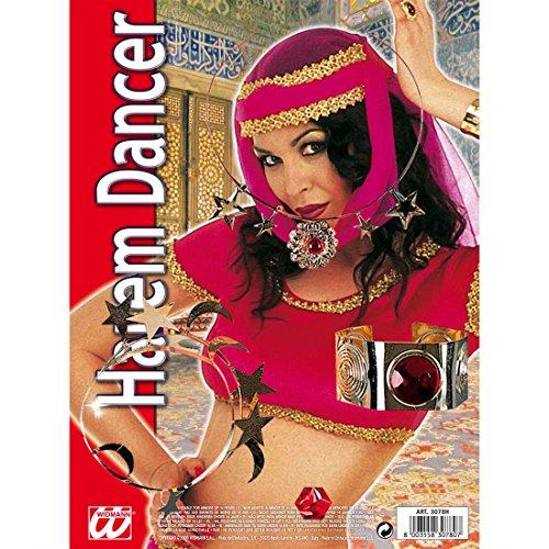 Amakando Set de Bijoux Danseuse Orientale avec Pierres Bijou gemme Rouge Bollywood argenté avec Pierres Rouges Bijoux Fantaisie Hindou 1001 Nuits Accessoire Femme Harem Carnaval Danse