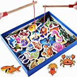HAIMEN Fish Animal Toys, Wooden Fishing Game Kid Soft Montessori 3D Fish Animal Toys Children's Gift Early Educational Birthday Gift Toy for Age 3 4 5 Year Old Children Baby Boy Girl