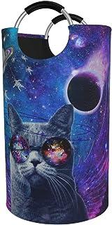 N\A Panier à Linge Rond, Lunettes Cat Universe Panier à Linge Seau Pliable Sac à vêtements bacs de Rangement pour Bureau O...