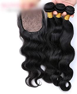 Hairpieces Hairpieces Brazilian Bady Wave Hair with Closure Human Hair Bundles with 4x4 Lace Closure Free Part Hair Extensions Natural Color Hair for Daily Use and Party