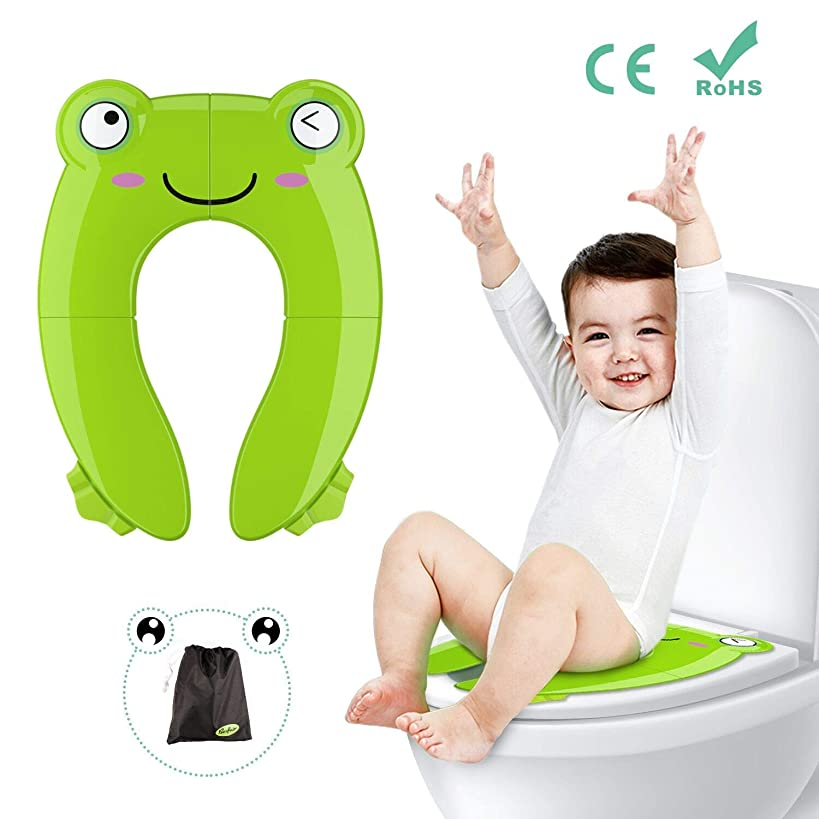 Portable Potty Seat for Toddler Travel - Foldable Non-Slip Potty Training Toilet Seat Cover for Boys | Girls | Baby | Kids with Drawstring Bag