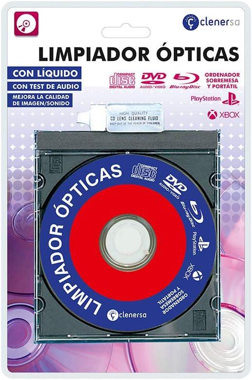 Clenersa Limpiador de Lentes para Reproductores de CD, DVD, BLU Ray, Ordenador y Consolas Xbox y PS, con Líquido