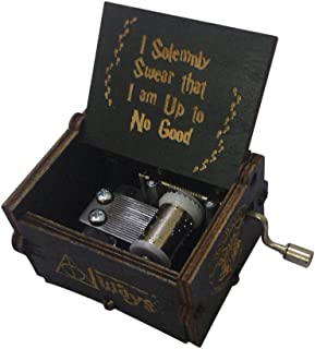 Harry Potter Music Box Hand Crank Musical Box Carved Wooden,Play The Thame Song of Harry Potter (Black)