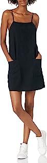 Women's Straight Round Woven Mini Sundress Dress