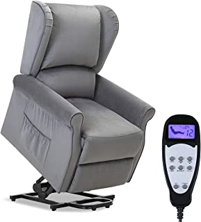 TANGKULA Electric Lift Massage Recliner Chair, Home Theater Seating, Leisure Lounge, Padded Seat, Living Room Office Furniture, Massage Sofa with Side Pocket and Remote Control, Recliner (Grey)
