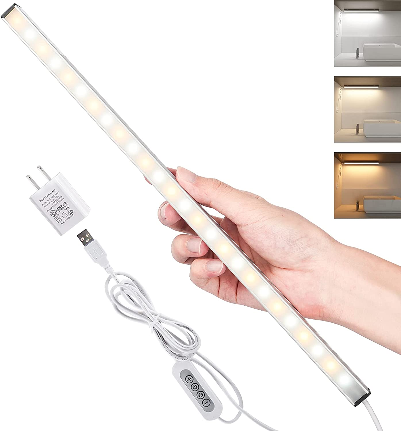 Vovamo LED Under Cabinet Lighting Bar Dimmable,Built-in Magnets, 3 Color Temperature, 14.5 inches, USB Powered Under Counter Lighting fixtures, LED Closet Light,Kitchen Light.(with UL Plug)