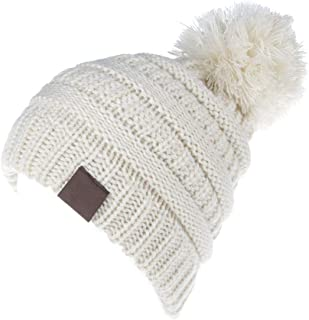 KPWIN Toddler Winter Hats, Baby Kids Toddler Cable Knit Winter Beanie Hat with Pom Pom