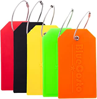 BlueCosto 5x Luggage Tags Travel Bag Suitcase Labels w/ Privacy Cover - Multicolor